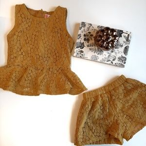 Other - Girls 2 piece mustard color lace set like new